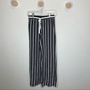 Black and white Striped knit wide leg pants